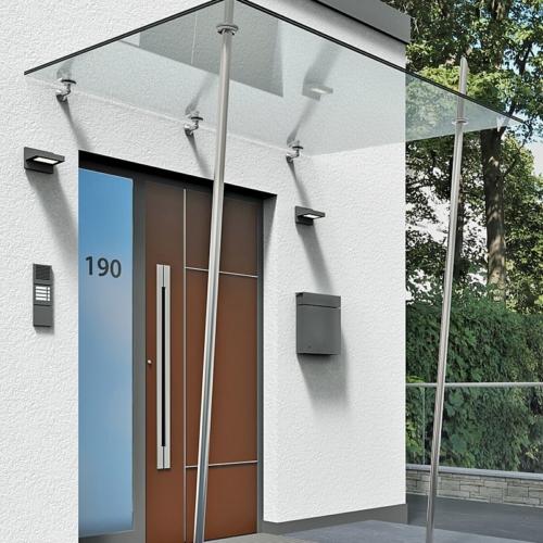 Vordach Klarglas mit 2 Edelstahlstützen