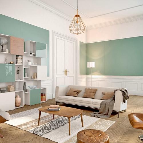 Wandverkleidung Matelac Salbeigrün, Schranktüren Lacobel Salbeigrün
