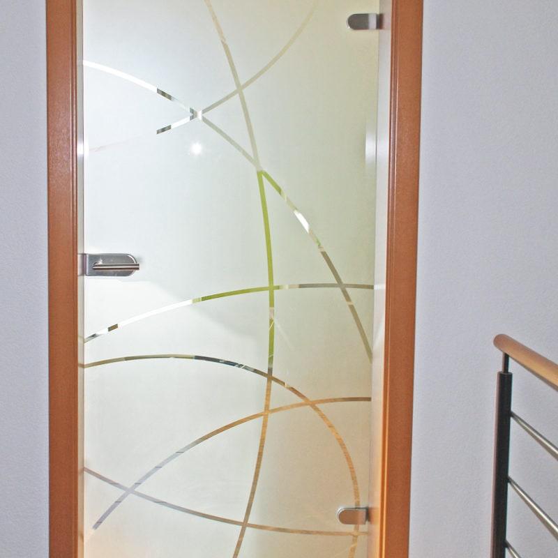 Drehtüre mit Sandstrahlmotiv S5139K