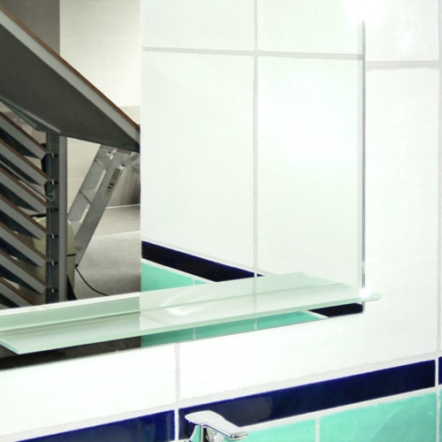 Spiegel mit UV-verklebtem Fachboden aus Satinato