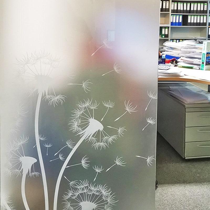 Lasermattierung Pusteblume auf Satinato