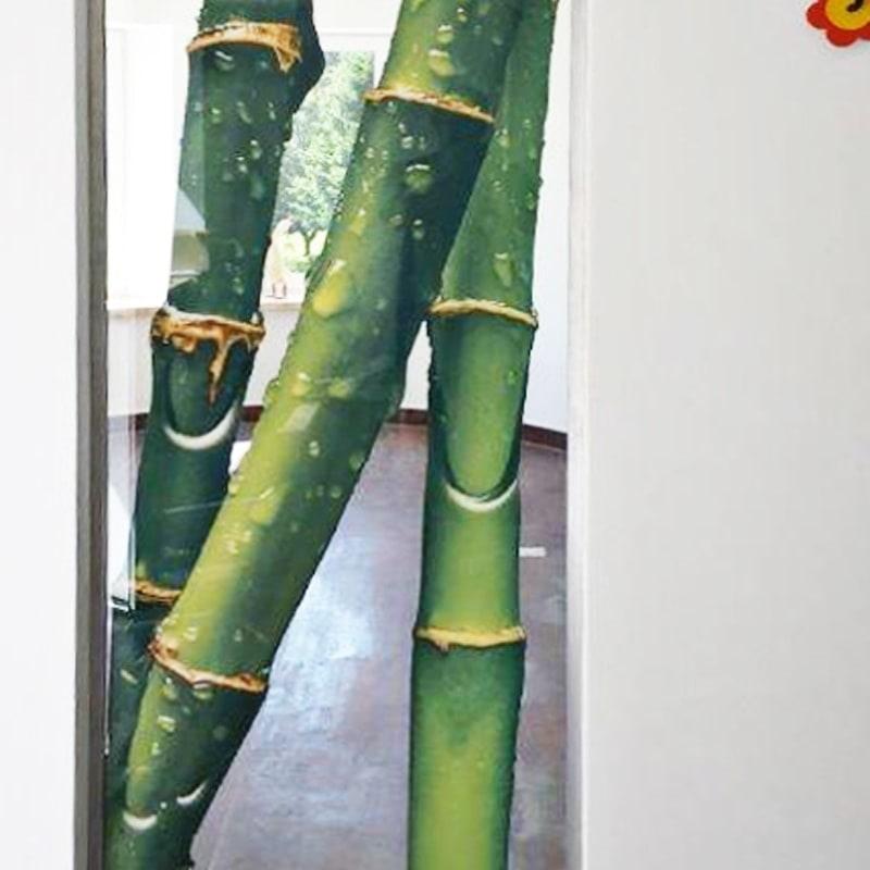 Festverglasung Digitaldruck Bambus auf Klarglas