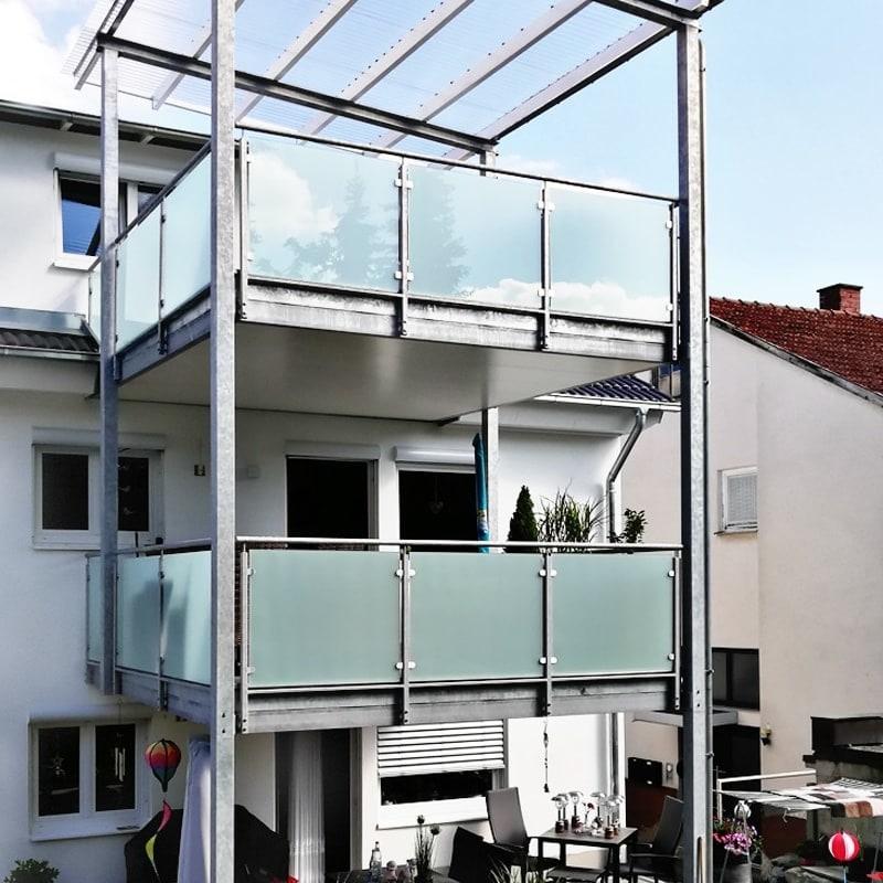 Geländer mit Klemmhalter VSG matte Folie