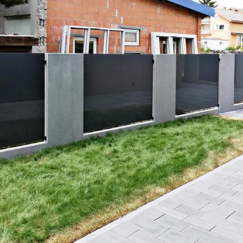 Sicht- und Windschutz VSG Parsol grau matte Folie
