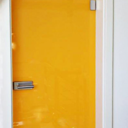 Ganzglastüre Siebdruck Gelb
