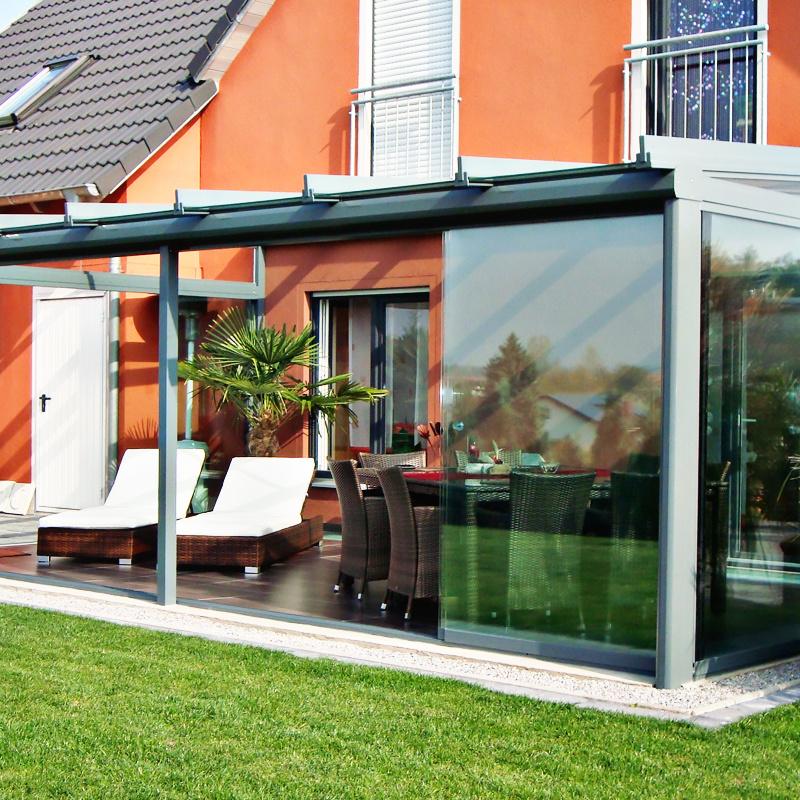 Terrassendach mit Front und Seite Schiebeanlage VG