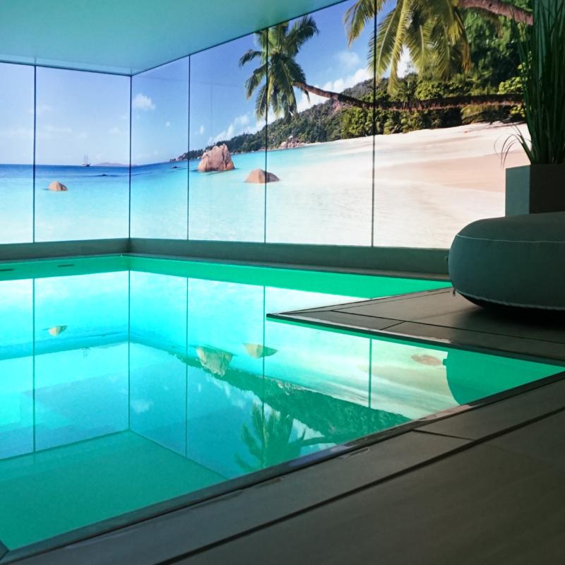 Digitaldruck auf Glas hinterleuchtet Strand