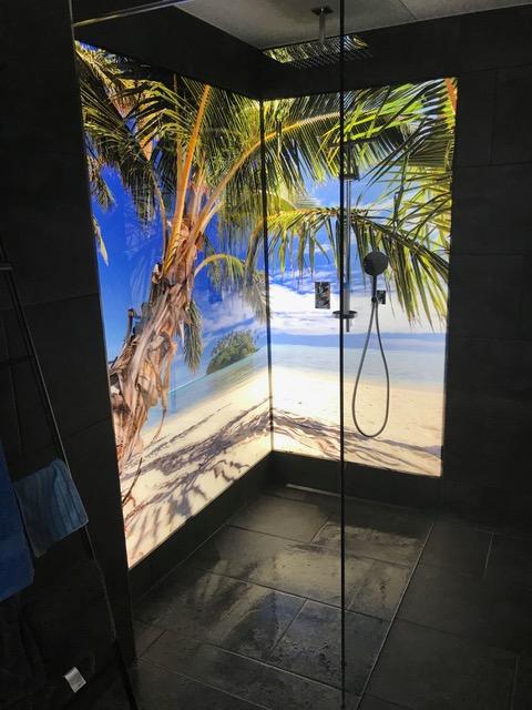 Digitaldruck auf Duschrückwand aus Glas hinterleuchtet, Palme