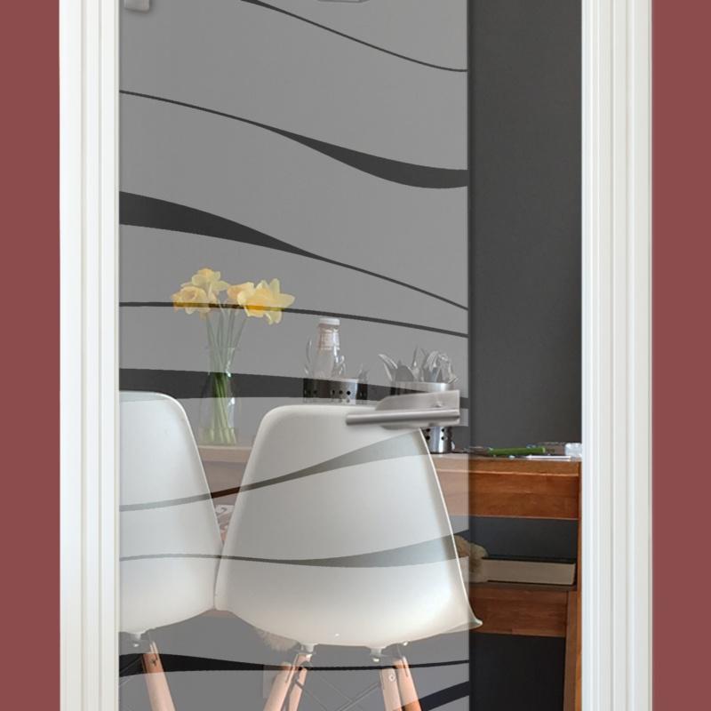 Sandstrahlmotiv auf Glastür klar, Bänder