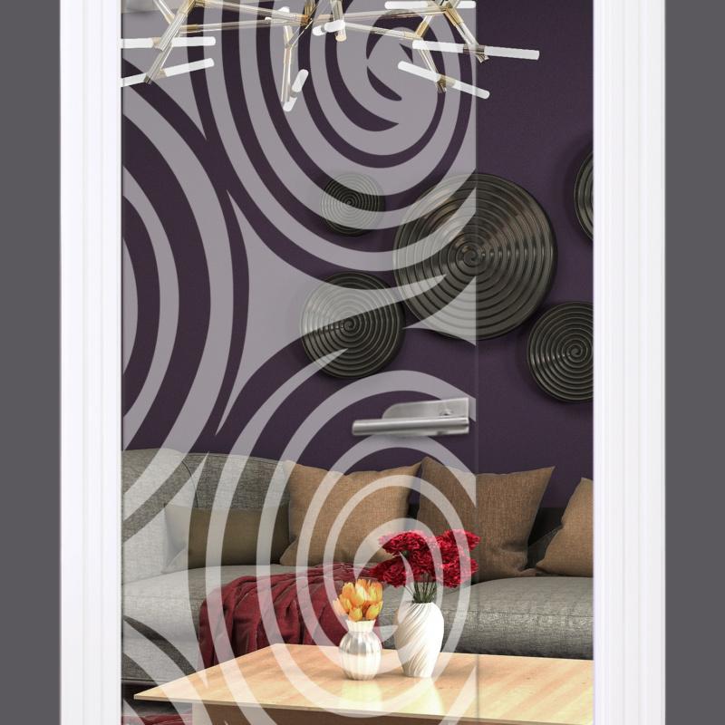 Sandstrahlmotiv auf Glastür klar, Swirl