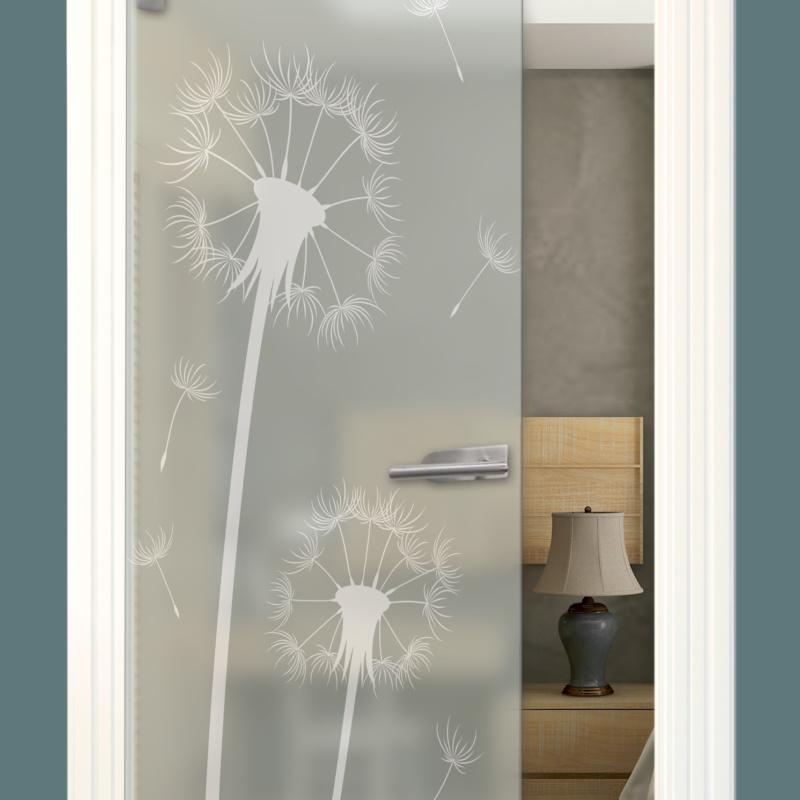 Sandstrahlmotiv auf Glastür Satinato, Pusteblume