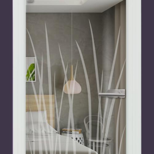 Sandstrahlmotiv auf Glastür klar, Gräser