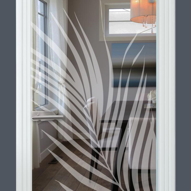 Sandstrahlmotiv auf Glastür klar, Palmwedel