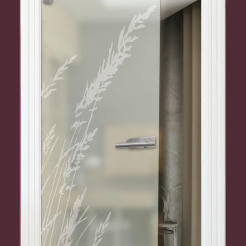 Sandstrahlmotiv auf Glastür Satinato Gras, Gräser
